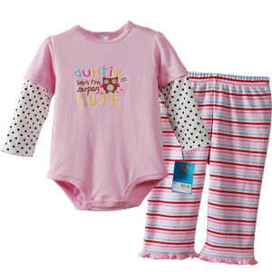 Carters Bodysuit with Pants Auntie say; sz 3,6,9m@75rb